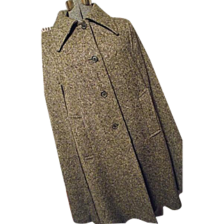 EXCELLENT Vintage Boru By Jimmy Hourihan Womens Brown Wool Tweed Cape Made in Ireland