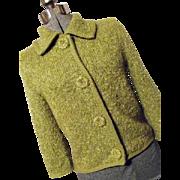 Vintage 1960's I Magnin Womens Chartreuse Green Sweater Shaggy Wool Mohair Medium