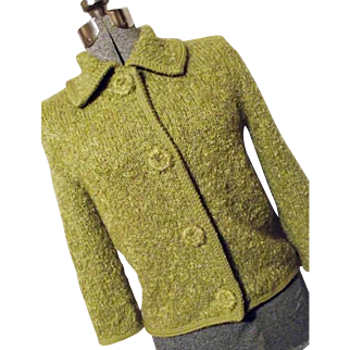 Vintage 1960's I Magnin Womens Chartreuse Green Sweater Shaggy Wool Mohair Medium