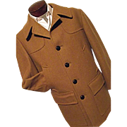 Vintage 1950s Pendleton Mens 100% Wool Car Coat Peacoat Camel M L Hunting
