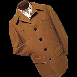 Vintage 1950s Pendleton Mens 100% Wool Car Coat Peacoat Camel M L Hunting