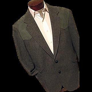 NICE Vintage Pendleton Woolen Mills Mens Gray Wool Tweed Faux Leather Trim Blazer 46
