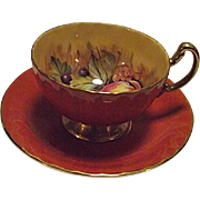 EXCELLENT Vintage Aynsley Bone China Orchard Fruit Cup Saucer Salmon Gold Signed