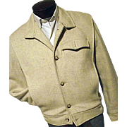 ROCKABILLY Vintage 1950s Chess King Mens Oatmeal Wool Coat Jacket Quilted Lining Med