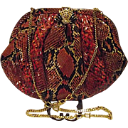 Couture PARRI' S Red Python Snakeskin Purse Handbag Swan Crystal Clasp Florence Italy