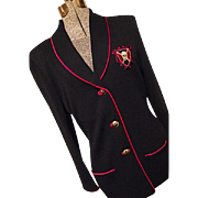 FANTASTIC St John Marie Gray Womens Santana Knit Navy Blazer Crested 8 Military