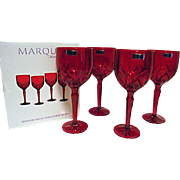 UNUSED IN BOX Waterford Marquis Brookside Red Set of 4 Tall Wine Goblets More Available