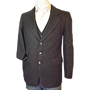 Vintage Fitzgerald Mens Dark Brown Pin Stripe Wool Suit Jacket Vest Pants