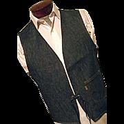 DEADSTOCK Vintage Levis BIG E NOS Indigo Dark Denim Hippie Vest M Reversible Striped