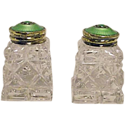 Sterling Silver & Guilloche Enameled Salt & Pepper Shakers Hroar Prydz Norway