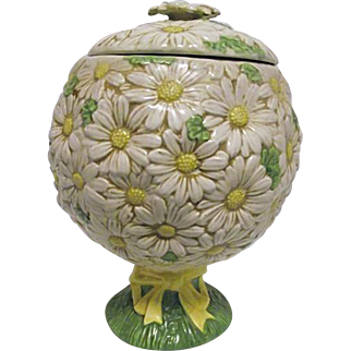 RARE Vintage Metlox Poppytrail Sculptured Daisy Covered Cookie Jar Topiary