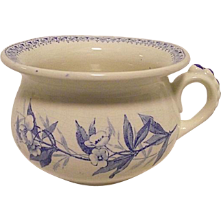 SALESMANS SAMPLE Antique Ironestone w/ Blue Transfer Chamber Pot