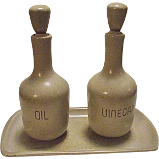 RARE Vintge Edith Heath Ceramics Pottery Sand Oil & Vinegar Cruets Bottles & Tray