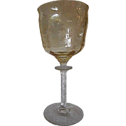 BEAUTIFUL Depression Era Tiffin Glass Etched Cadena Amber Yellow Water Goblet