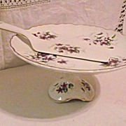 James Kent Old Foley Violets Cake Stand and Pastry Server