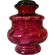 Vintage 1960's Fenton Cranberry Coin Dot Optic Apothecary Jar W/ Lid LE Smith