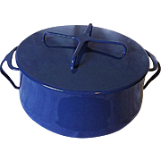NEAR MINT Dansk Kobenstyle MIdnight Blue 6 Quart Enameled Metal Covered Casserole