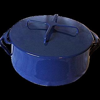 NEAR MINT Dansk Kobenstyle MIdnight Blue 6 Quart Enameled Metal Covered Casserole