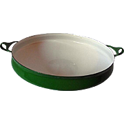 "NEAR MINT Dansk Kobenstyle Green Enameled 13"" Metal Paella Pan Buffet Server France"