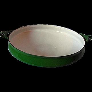 """NEAR MINT Dansk Kobenstyle Green Enameled 13"""" Metal Paella Pan Buffet Server France"""