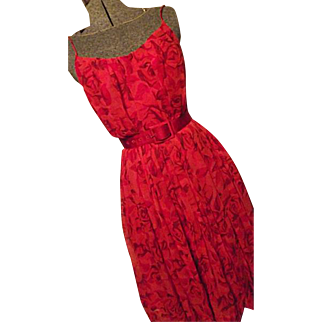ADORABLE 1960's Mr Mort Womens Red Silk Chiffon Party Dress Sm Red Roses