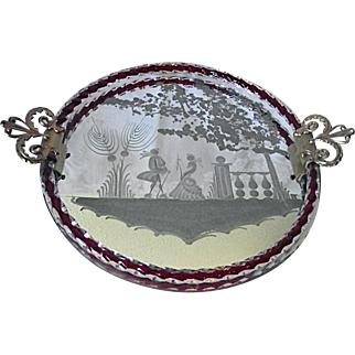 Vintage Venetian Murano Glass Etched Mirror Vanity Tray Twisted Rope Cased Red