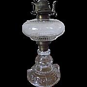ANTIQUE 1890 EAPG US Glass Co Kings Crown Lg Oil Kerosene Lamp