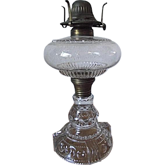 ANTIQUE 1890 EAPG US Glass Co Kings Crown Lg Oil Kerosene Lamp