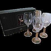 Godinger Shannon Crystal Disc Chelsea Collection Set of 4 Lg Wine Goblets in Box