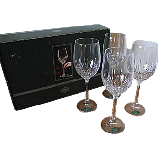 Godinger Shannon Crystal Disc Chelsea Collection Set of 4 Lg Wine Goblets in Box