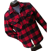 DEADSTOCK Vintage Cal Craft Mens Red Buffalo Plaid Wool Jacket M Sherpa Lining