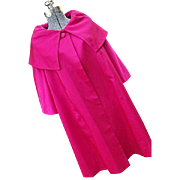 FABULOUS Vintage 1950's Sandra Sage Deep Pink Swing Opera Coat Womens M Cowl Collar