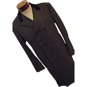 ELEGANT Favourbrook England Men Black Wool Vtg Frock Coat 42