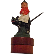 Vintage 1920s German Halloween Candy Container Witch Riding on Black Cat