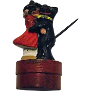 Vintage 1920s German Halloween Candy Container Witch Dancing With Black Cat