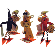 UNIQUE 1920's Halloween Set of Six Placecards Holders Bakelite Jack-O-Lanterns Pumpkins Ladies