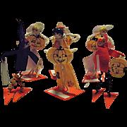 UNIQUE 1920's Halloween Set of Six Placecards Holders Bakelite Jack-O-Lanterns Pumpkins Ladies