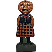 RARE Vintage 1920s German Skittle Game Piece Girl Pumpkin Head JOL