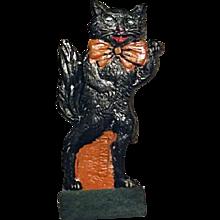 RARE Vintage 1920s German Skittle Game Piece Black Cat Standing Up