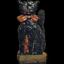 RARE Vintage 1920s German Skittle Game Piece Black Cat Sitting Orange Bow