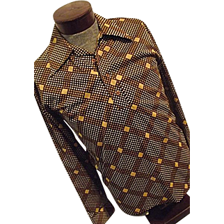 FUNKY Vintage 1970s Lord Clayton Mens Disco Lounge Shirt Brown Check Lg 1/4 Button