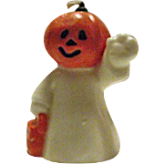 RARE Vintage Halloween Candle JOL Pumpkin Head Ghost Trick or Treat Jack-O-Lantern 1