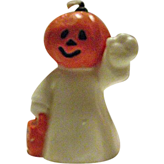 RARE Vintage Halloween Candle JOL Pumpkin Head Ghost Trick or Treat Jack-O-Lantern 1