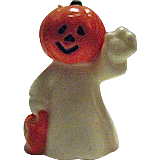 RARE Vintage Halloween Candle JOL Pumpkin Head Ghost Trick or Treat Jack-O-Lantern 2
