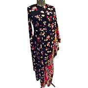 AVANT GARDE Vintage 1960s Lilli Diamond California Womens Maxi Dress Caftan Combo S M