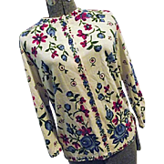 BEAUTIFUL Vintage Vienna Model Hooper Assoc Vtg Womens Sweater 14 Lg Floral Austria