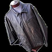 FANTASTIC Vintage Eddie Bauer Mens DISTRESSED Leather Bomber Jacket Brown XL XXL