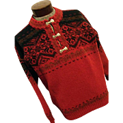 EXCELLENT Vintage Viking Scotland Mens Nordic 100% Wool Sweater Red XL Pewter Clasps