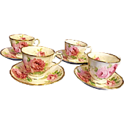 EXCELLENT Vintage Royal Albert American Beauty Set of 4 Footed Cups and Saucers Gold