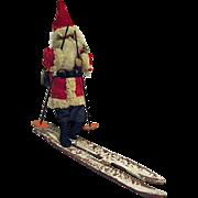 Vintage Spun Cotton Skiing Santa Claus Japan Celluloid Face